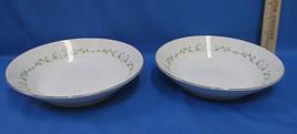 Set 2 Soup Bowls Sheffield Fine China w/ Elegance Pattern White Floral Green - $18.80