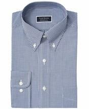 Club Room Men's Regular Fit Stretch Mini Gingham Dress Shirt Navy 17 36-37 - $26.45