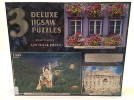 3 Deluxe Jigsaw Puzzles 2250 Neuschwanstein Castle, Trevi Fountain, Wind... - $29.69