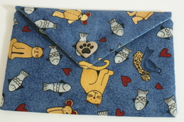 Bag Cats Fabric Lined Handmade Trinkets, Kleenex, PDA, Jewelry Handsewn - $10.00