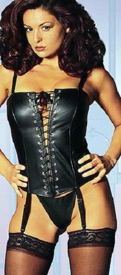 f7c5c8bf3f22 Empire Intimates Dominatrix Faux Leather Lace Up Corset & G-string