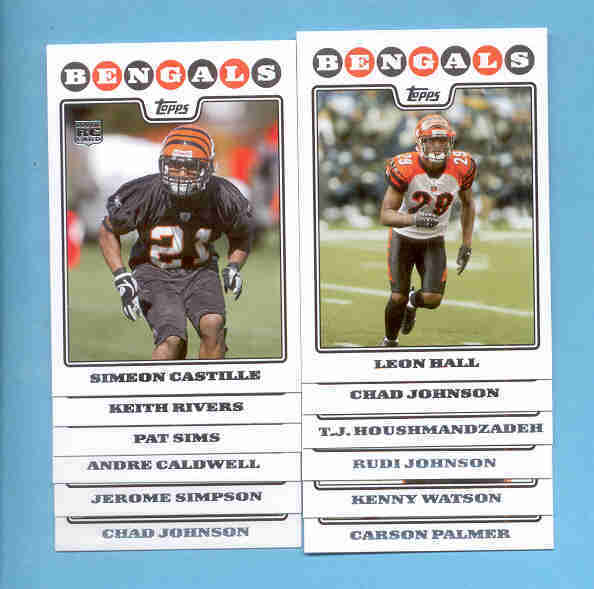 2008 Topps Cincinnati Bengals Football Team Set