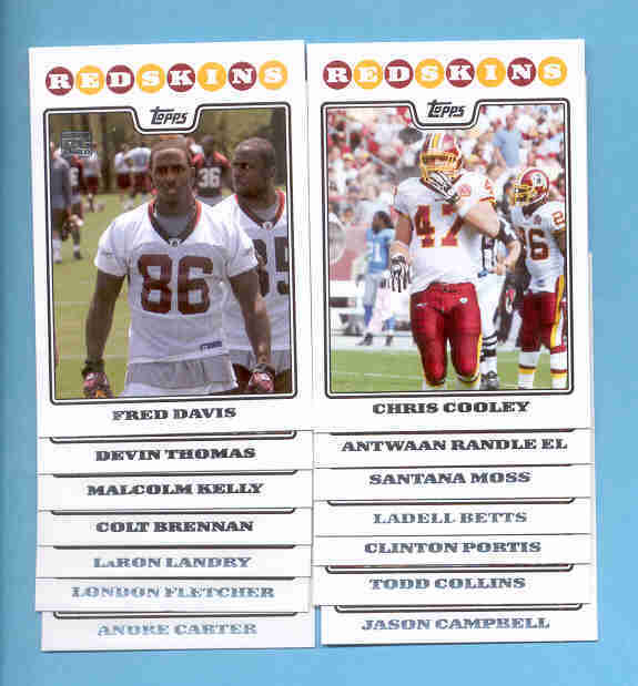 2008 Topps Washington Redskins Football Set