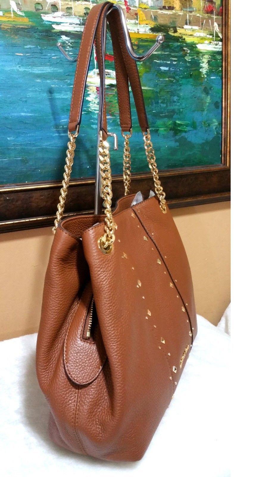 a39fe019e6f MICHAEL KORS jet set chain SHOULDER BAG leather purse stud Raven Brown NWT