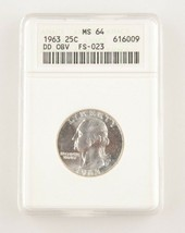 1963 25¢ Double Die Obverse FS-023 Washington Quarter Graded as MS-64 by... - $74.24
