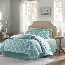 Luxury Aqua & White Reversible Fretwork Comforter Set AND Matching Sheet... - $123.49+