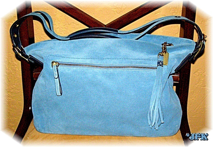 Coach Bag Blue Suede Purse NWT Dust Bag was $328 reduced
