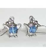 pewter tea pots with glass blue body earrings 3D - $19.00