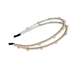 Synthetic Beads Double-deck Hair Bands Headbands, GOLD