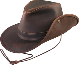 Henschel Oiled Pull Up Leather Safari Hat Snap Up Brim Made In USA Brown - $84.00