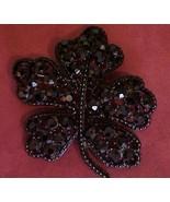 WEISS Japanned Black Rhinestone Leaf Pin Brooch - $24.95