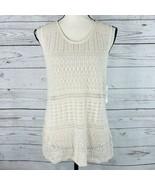 Style & Co Womens Large Top Sleeveless Crochet Open-Knit Stretch Beige T... - $24.72