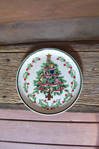 Vintage Lefton Christmas Plate 1950's Hand Painted Christmas Tree with Gold Gilt - $19.00