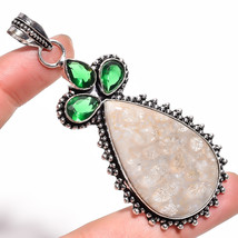 "Fossil Coral Tsavorite Gemstone Vintage Style Handmade Jewelry Pendant 3.3"" - $5.99"