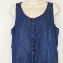 Wax Jean Denim Shorts Romper Women Size M Blue Medium Wash Cuffed - $12.84