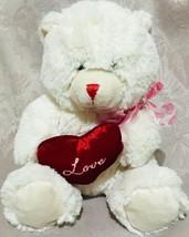 "VALENTINES Goffa BEAR 6"" Ivory Red HEART LOVE Plush Stuffed Animal Toy - $9.90"