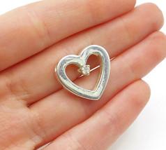 925 Sterling Silver - Vintage Topaz Centered Love Heart Slide Pendant - P10441 - $26.56