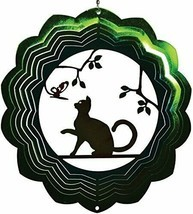 "Cat Wind Spinner New Zephyr Spiral 12"" Steel Butterfly Sitting in Tree  - $25.73"