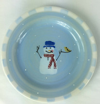 Hartstone Pottery Snow People Salad Luncheon Plate Snowman Single Check ... - $12.86