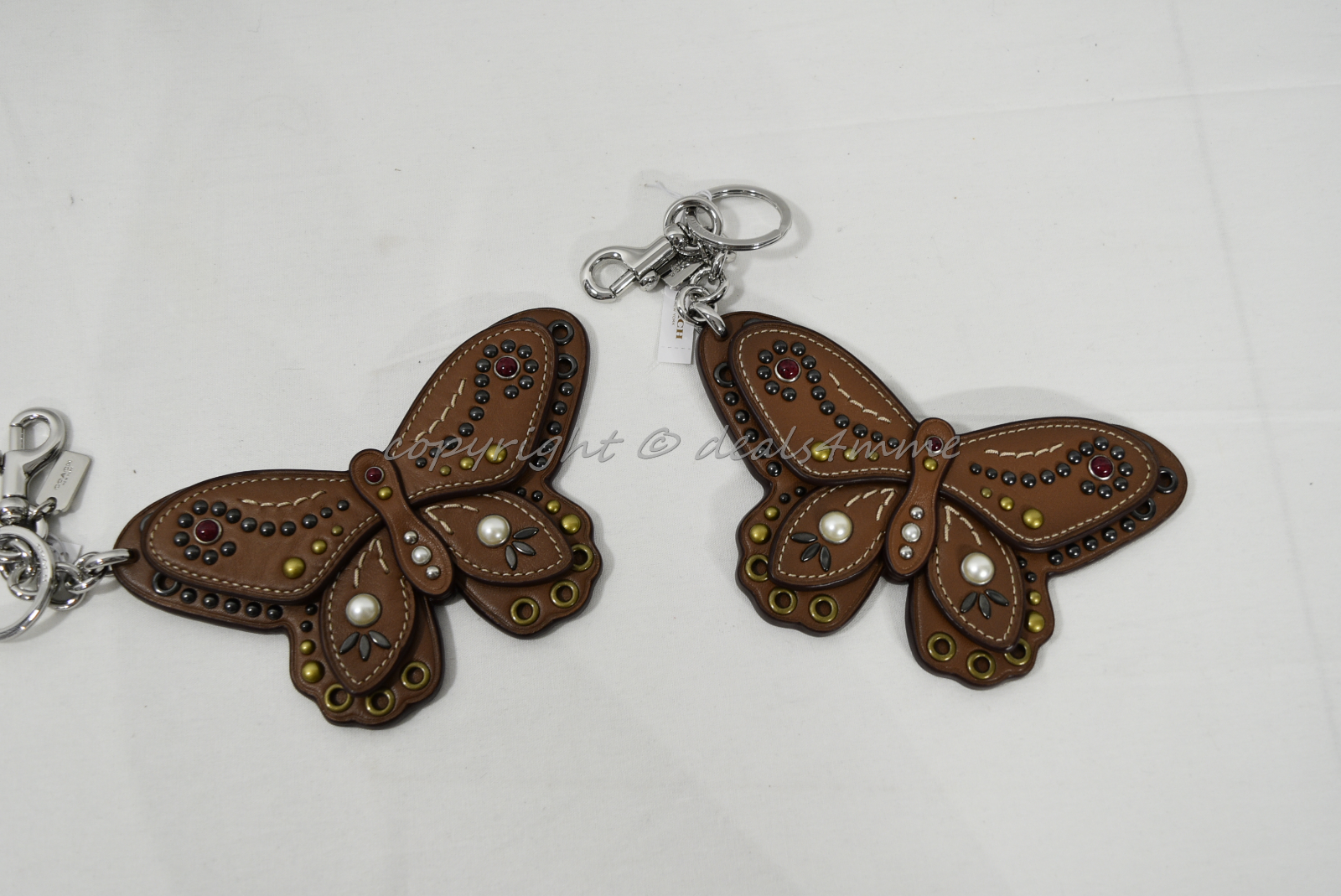 Coach F58996 /F58997 Studded Leather Butterfly Keyring/Key-Clip/ Bag Charm Brown image 3