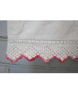 Vintage Pair/Set of 2 Pillowcases Pink & White Crocheted Scalloped Trim/... - $34.64