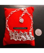Kitten family silver plated charm bracelet 7 inch cat lovers jewelry gif... - $2.95