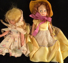 Hard Plastic Doll Painted face Lot Of Two vintage - $9.89