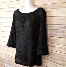 Ann Taylor Loft Blouse Sz M Dressy Black Top New Years Business Casual C... - $35.00