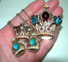 VINTAGE STERLING SILVER VERMEIL GLASS RHINESTONE CROWN BROOCH & CLIP ON ... - $375.00