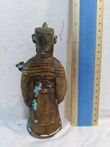 Vintage Antique Metal Statue Asian Stamped Signed Robed Man Crown Bowl Scepter image 3