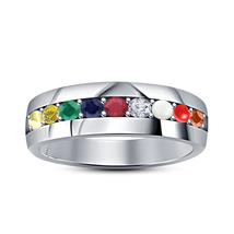 14k White Gold Fn 925 Sterling Silver Round Cut Navratna Wedding Ring - $52.25