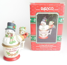 Vintage Enesco Ornament Cup Merry Christmas Grandpa Series A Mug Full of Love - $17.95