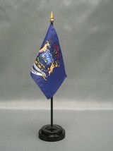"Michigan 4X6"" Table Top Flag W/ Base New Us State Desktop Handheld Stick Flag - $4.95"