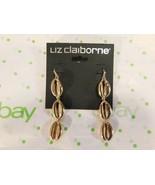 Liz Claiborne Women's Cowrie Sea Shell Linear Earrings Gold Tone New - $18.80