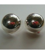 Vintage Stamped 925 SU Sterling Silver Round Dome Clip-On Earrings - $44.55