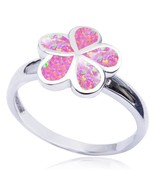925 Sterling Silver Pink Inlay Fire Opal Plumeria Flower Lovely Band Ring - $24.95
