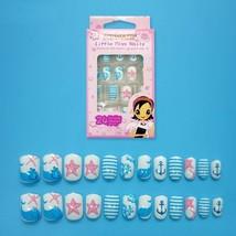 Children Fake Nails 24Pcs Kids False Nail Tips Starfish Ocean Press on M... - $8.50