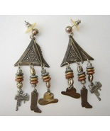 Cowboy Dangle Mixed Metal Earrings Hat Boots Beaded Post Pierced Silver ... - $30.00