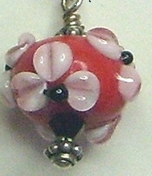 Red,White & Black Floral Lamp Work Sterling Silver Earrings