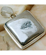 Sterling Silver Pendant Silver Druzy 1 3/4 Inch - $29.95