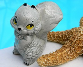Vintage Gray Squirrel Figurine Ceramic Porcelain Big Eyes - $9.95