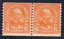USA 1932 # 723 GARFIELD 6 CENT JOINT LINE PAIR DEEP ORANGE 4016-RD-A1 - $39.60