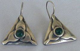 Green triangle earrings - $18.00