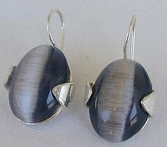 Gray cat eye earrings - $28.00