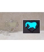 HORSE Heart GLOW IN THE DARK Aqua Equine Equestrian Love Pendant Charm N... - $14.25
