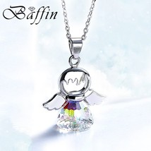 BAFFIN Cute Angel Pendant Necklace Crystals From Swarovski Silver Color ... - $16.37
