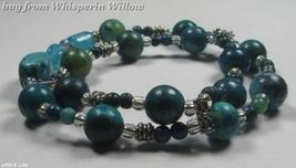 2 Strand Turquoise/Blue Glass and Silver Scoop Bracelet - $14.95