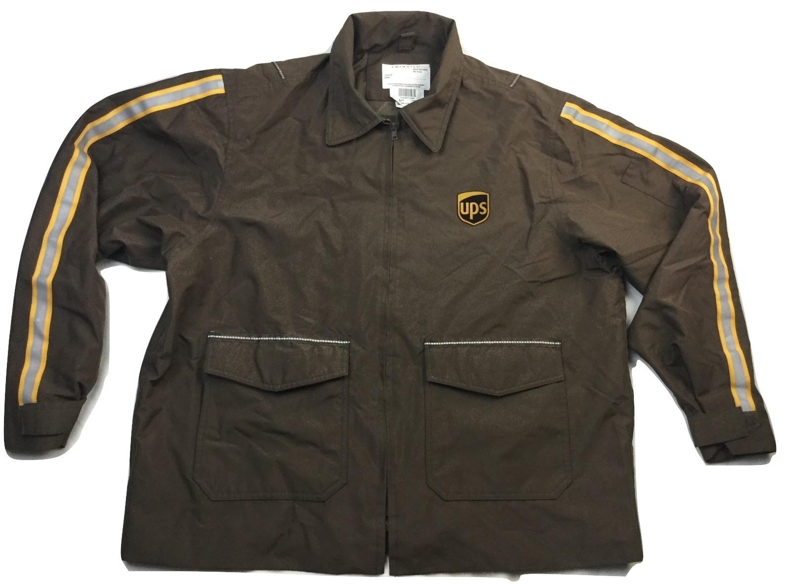 UPS Long Sleeve Full Zip Brown Rain Jacket Adult Men's Size L  (42-44) large