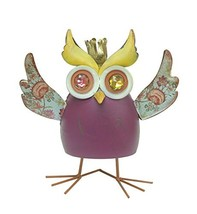 YK Decor King Owl Decorative Shake Statue, Purple - $23.68