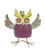 YK Decor King Owl Decorative Shake Statue, Purple - $23.68